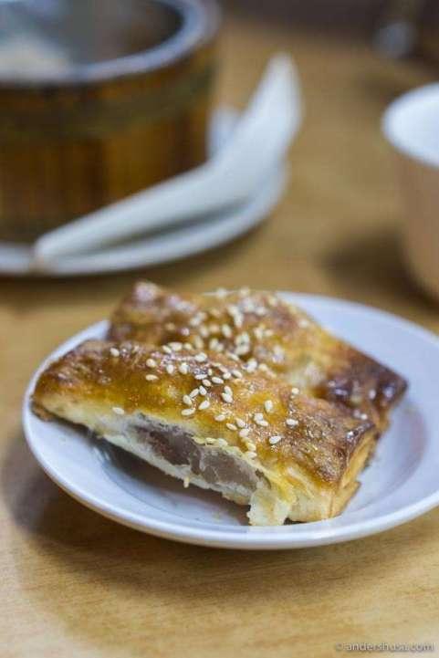 Baked BBQ pork pastry.