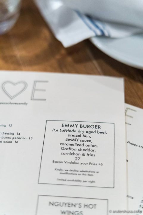 The ingredients of The Emmy Burger.