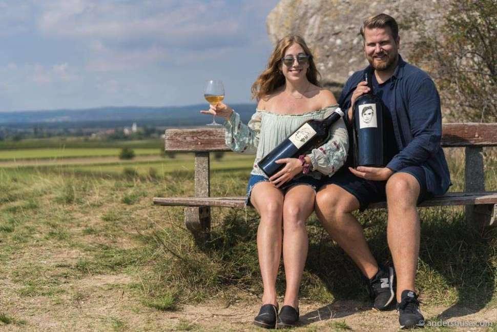 Magnum bottles of Gut Oggau enjoyed from a hilltop overlooking the vineyards.