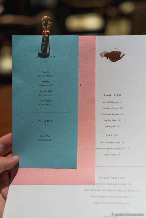 The menu at Angler.