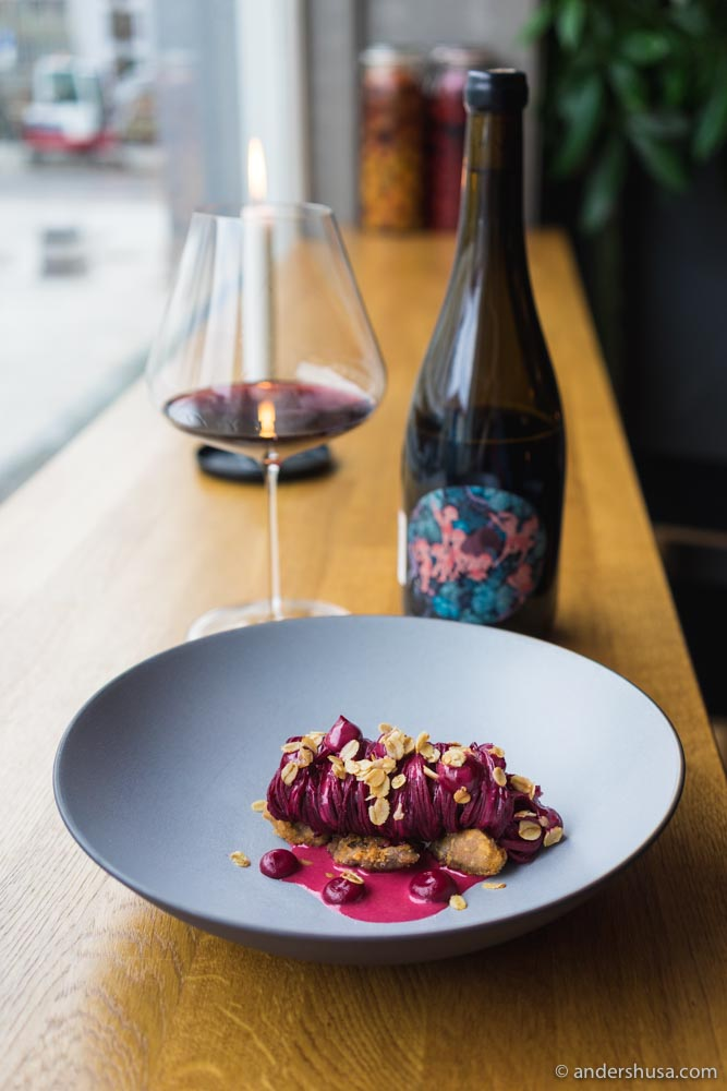 Fried lamb sweetbread, red beets pasta with red currant juice, and toasted oats.
