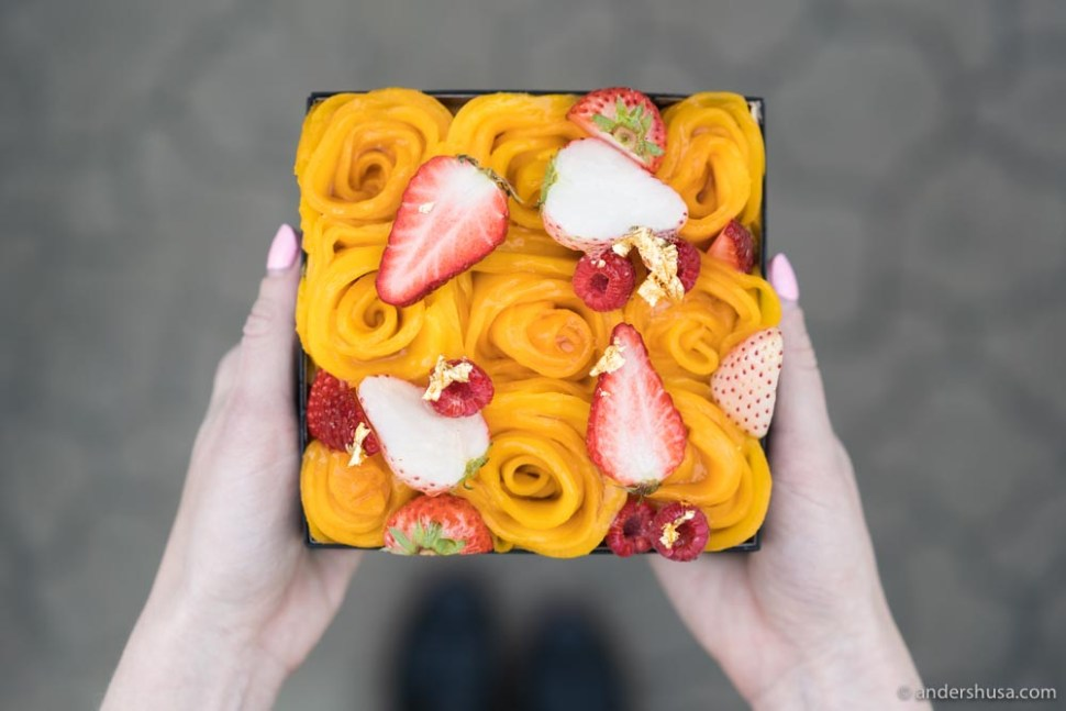 At no. 8 is the mango cake from été in Tokyo, Japan.