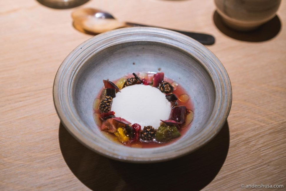 Sheep's milk yogurt, dried and fermented fruits, white currant, and pine. Our favorite Noma 2.0 dessert so far!