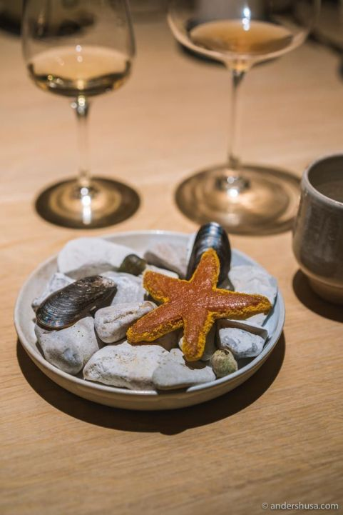 Cardamom-scented toffee «sea star», sea buckthorn leather, and saffron-flavored white chocolate.