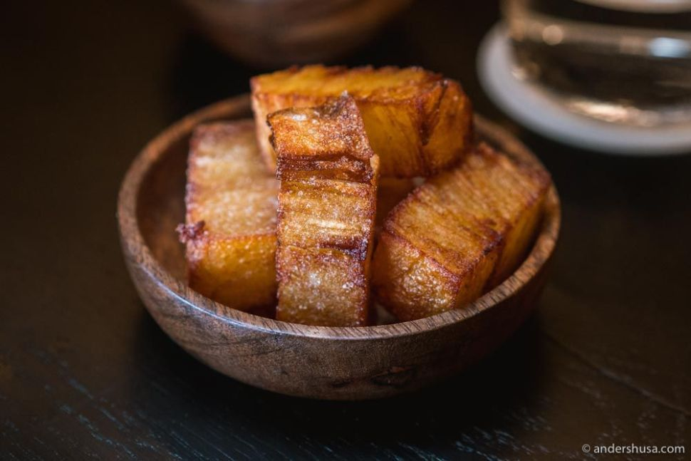 Hash brown with salt and vinegar.
