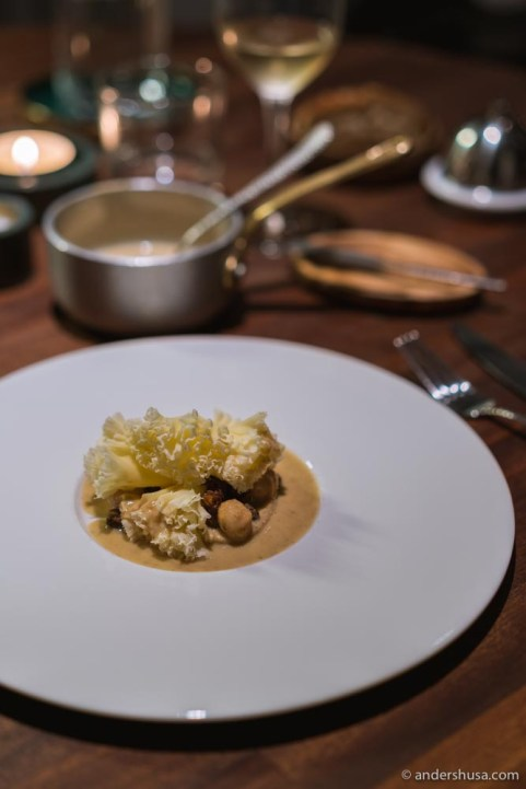 Swiss cheese with sunchokes, morels and macadamia nuts