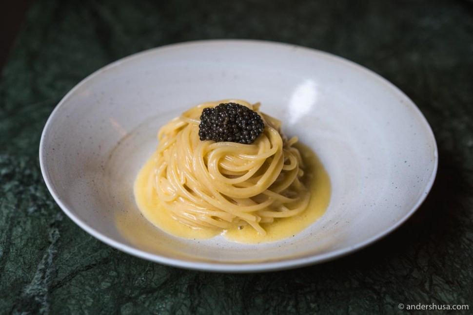 Off-menu item: Spaghettoni with anchovy butter and caviar.