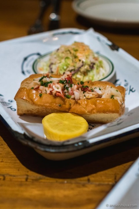 You can order the signature lobster roll hot with butter (our favorite!)...