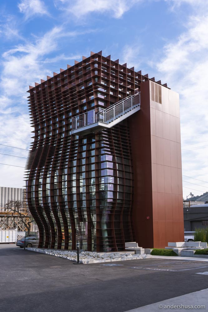 """The four-story """"Waffle"""" building, designed by Eric Owen Moss."""
