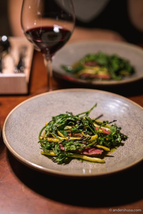 Beef with pickled coriander seeds and string beans.