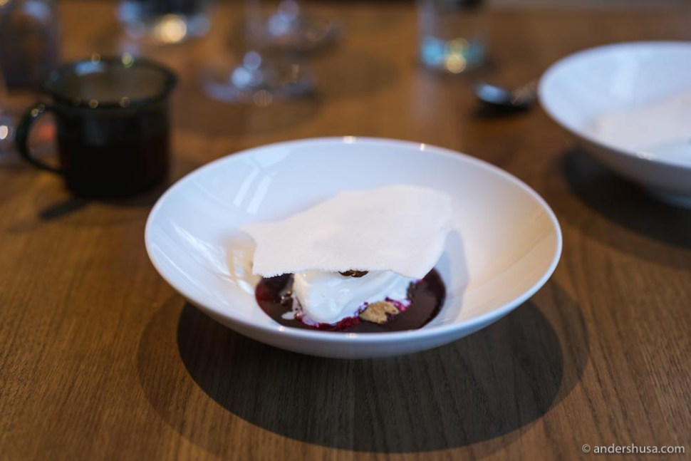 Milk ice cream, chocolate ganache infused with black currant, and a milk chip.