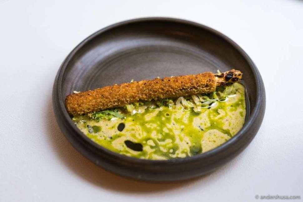 White asparagus, crème fraîche, gruyere, and cabbage.