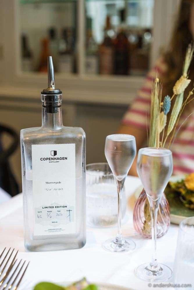 Møntergade's lemon and dill aquavit, made with Copenhagen Distillery.