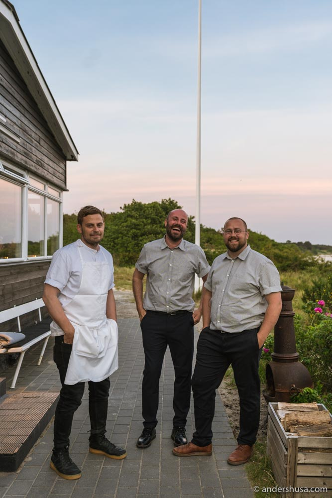 Chef Nicolai Nørregaard and co-founders Rasmus Kofoed and Magnus Høegh Kofoed.
