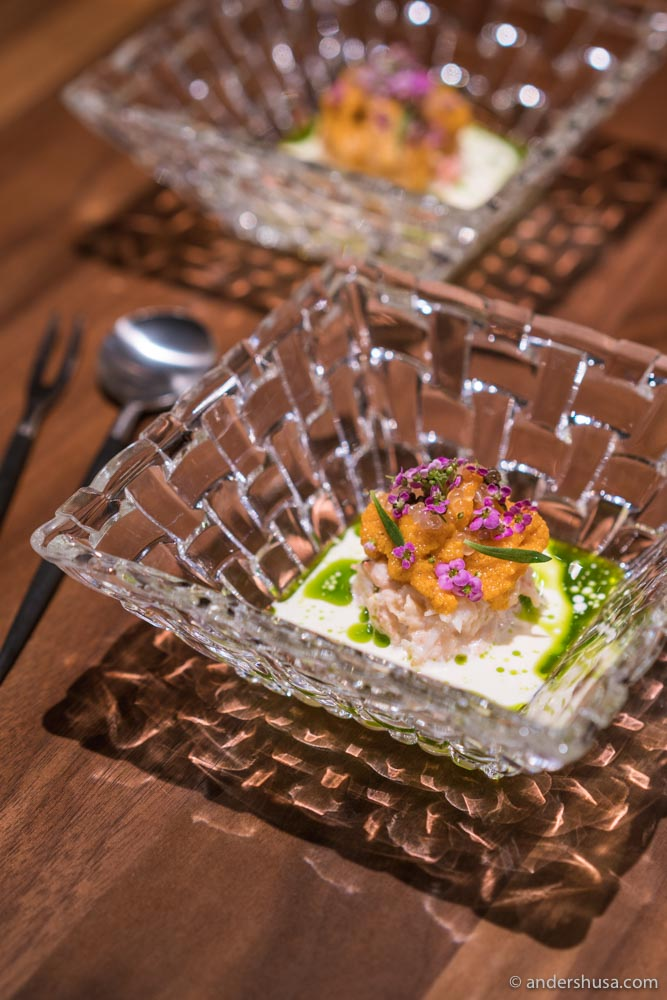 Langoustine claw, sea urchin, crown dill, and cream.
