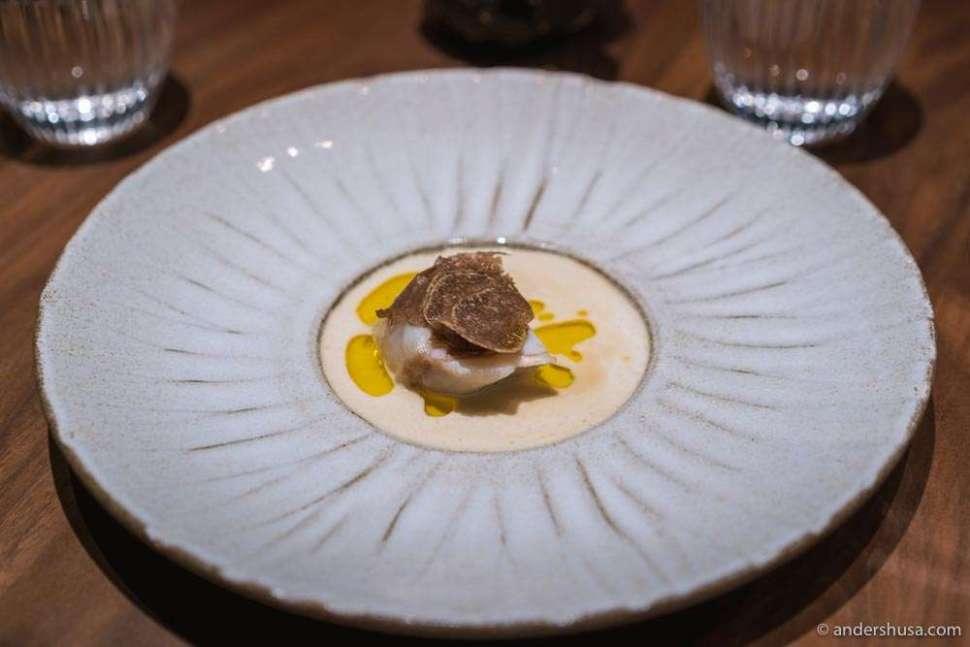 Monkfish, white truffle, and vin jaune.