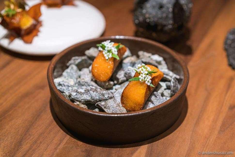 "Buckling, potato, sour cream & ""løyrom"" (vendace roe)."