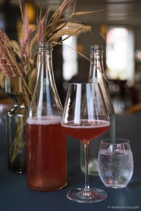 House-made mulberry kombucha.