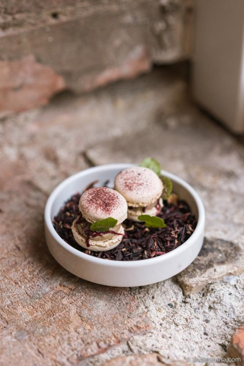 Black pepper macaron with whipped chicken liver & hibiscus.