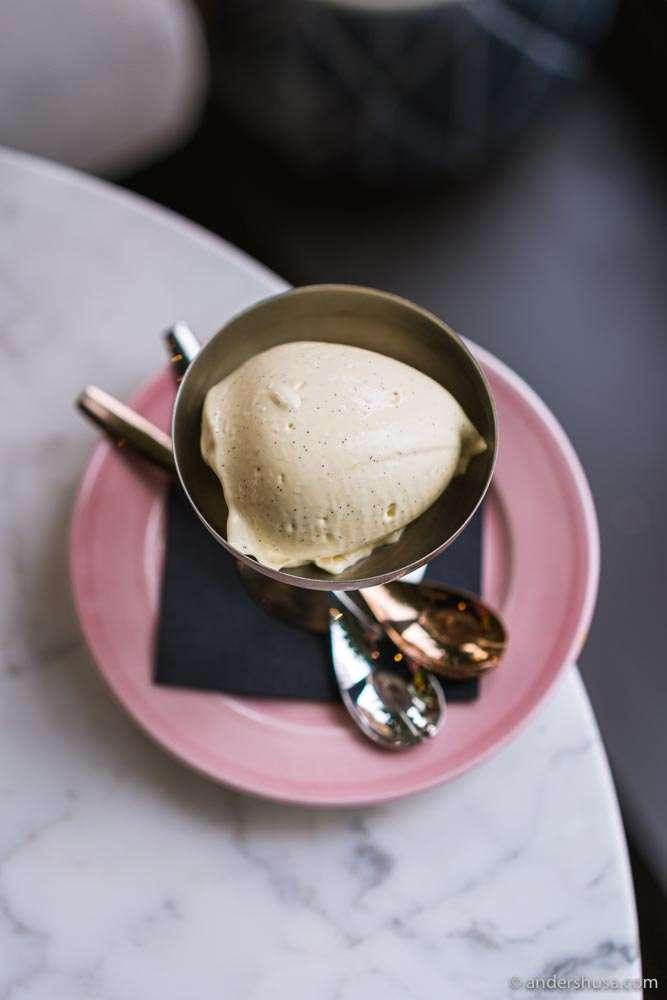 The signature vanilla and port ice cream.