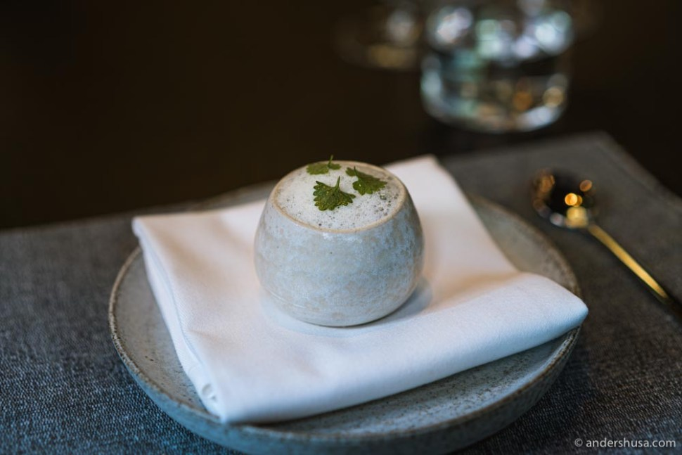 Almond custard served with white asparagus cooked in whey, and topped with GASTROunika caviar.