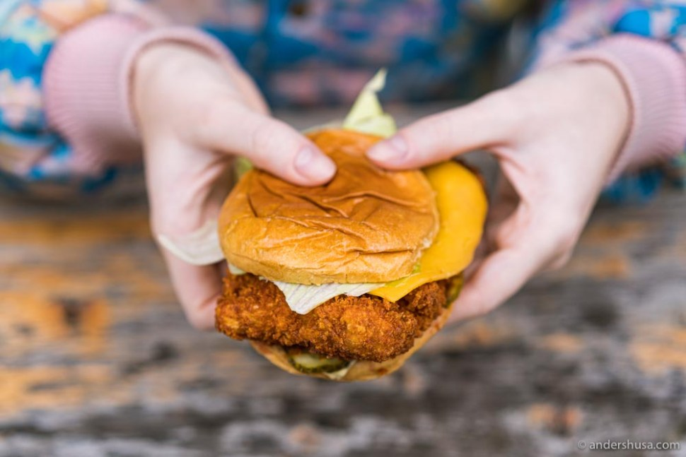 The spicy fried chicken sandwich from Poulette.