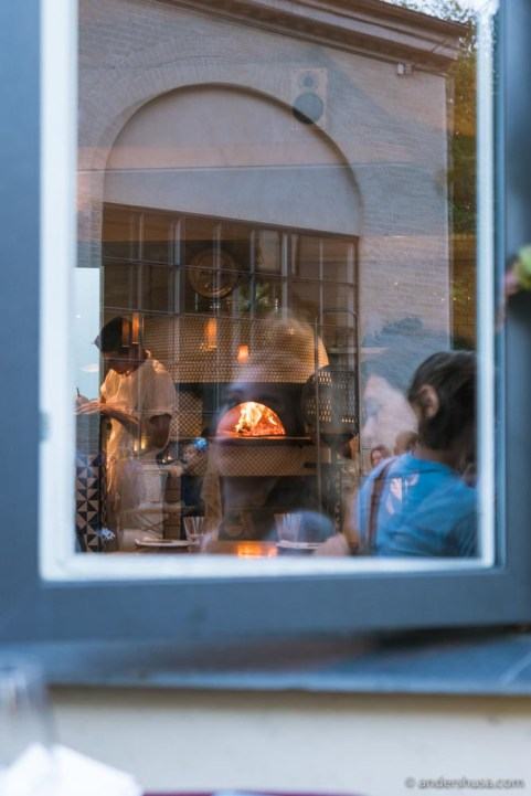 The wood-fired oven is the heart of the restaurant.