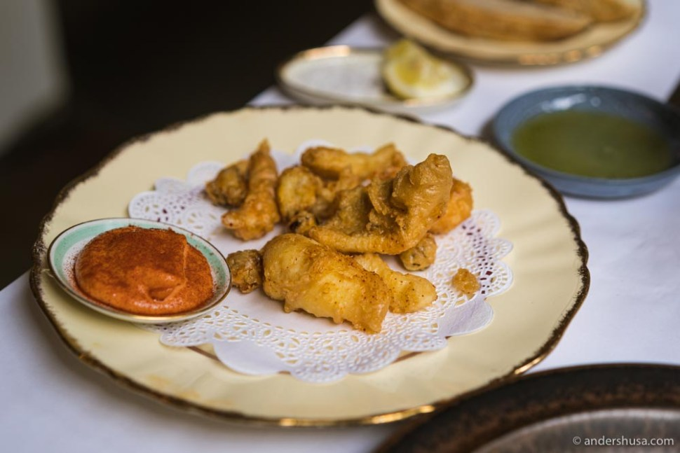 Fritto misto – a mix of deep-fried seafood with tomato mayo.