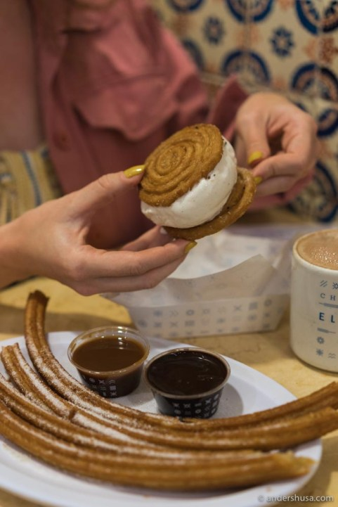 Don't miss out on the consuelo – churros ice cream sandwich!