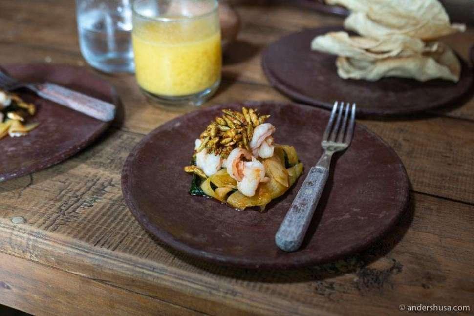 Shrimp & pumpkin seeds at Alfonsina.