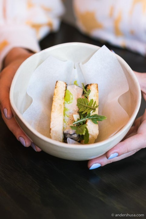 The smoked eggplant sando was a highlight of the omakase menu.