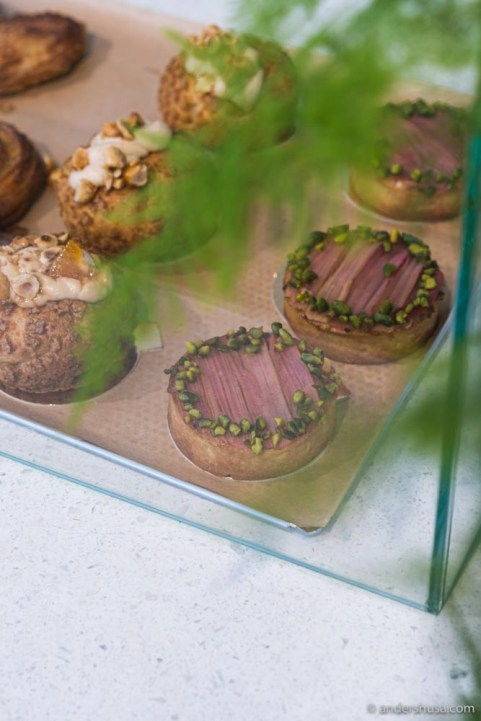 A counter full of seasonal pastries awaits you inside.
