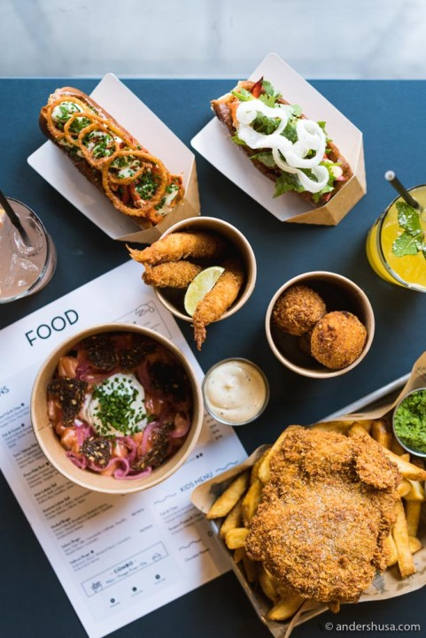 Fish and chips, lobster rolls, shrimp tempura, and more.