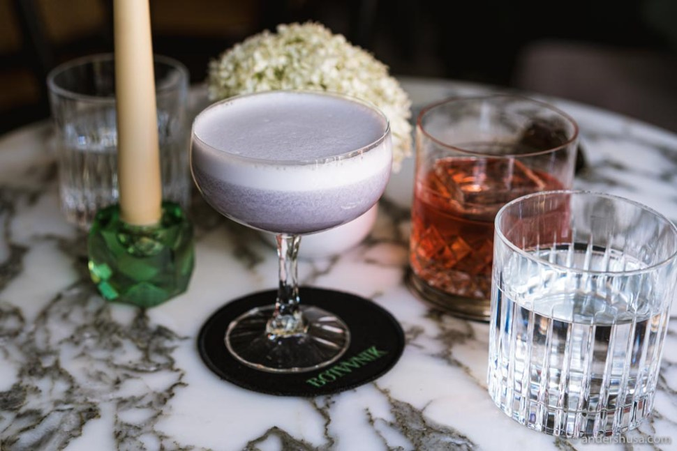 The beautiful Butterfly Pea Blackcurrant Leaf Gin Sour.