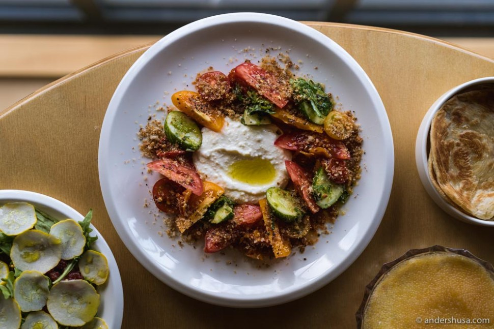 Whipped lemon ricotta, tomatoes, cucumbers, bread crumbs, and olive oil.