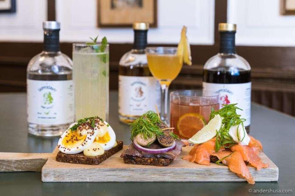 "Snaps cocktails work well with ""smørrebrød""!"