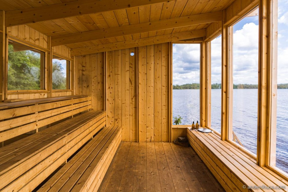 The Swedish sauna is the most striking amenity at Stedsans.