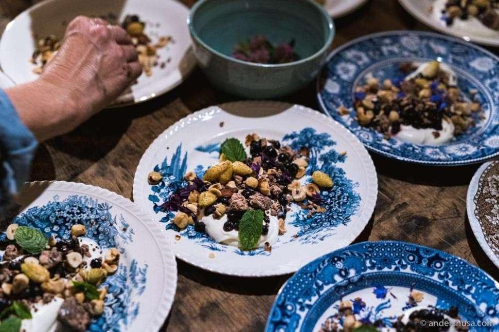 Blueberries, wild strawberries, yogurt, honey, hazelnuts, and Guatemalan chocolate.