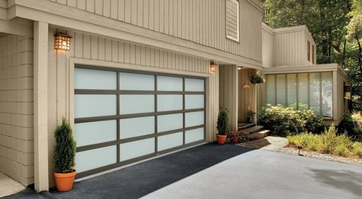 Modern style garage door in Hyrum, Utah
