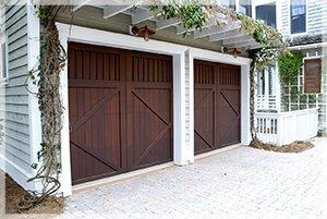two brown garage doors