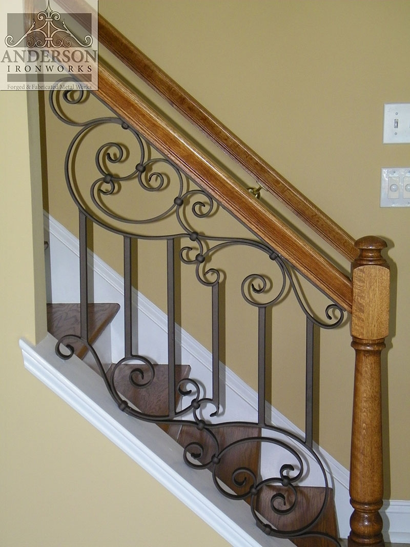 Wrought Iron Railing Custom And Pre Designed Anderson Ironworks | Iron Stair Railing Indoor | Cast Iron Balusters | Railing Kits | Interior Wrought | Rod Iron | Wood