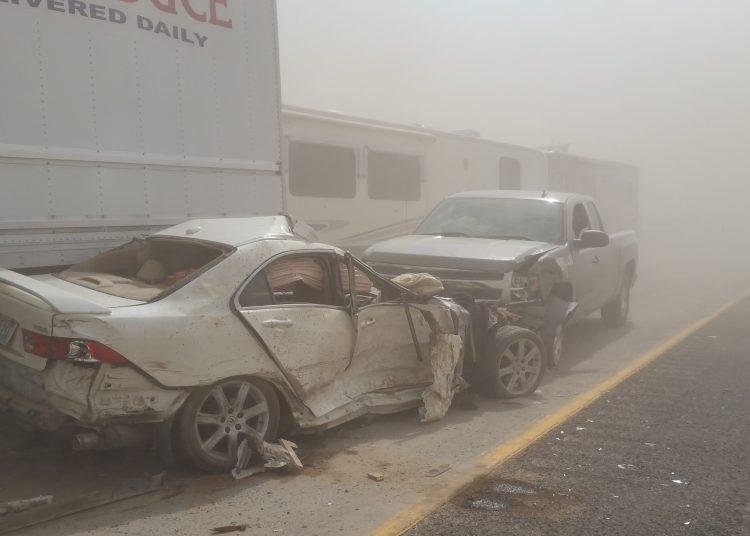 Dust storm pileup on Highway 395.