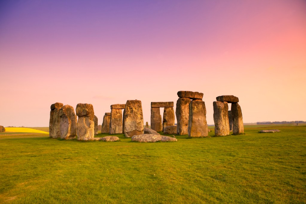 Stonehenge Sunset Image with Brilliant Purple & Pink Sky