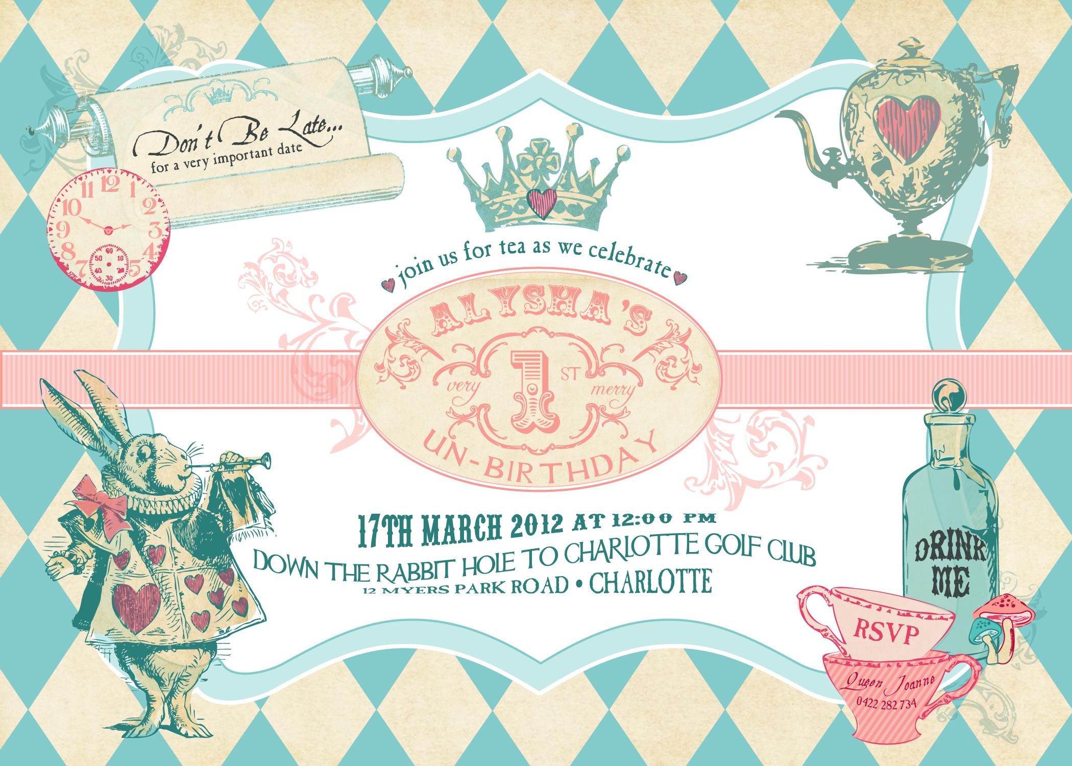 New Alice In Wonderland Inspired Invitation Collection Anders Ruff Custom Designs Llc