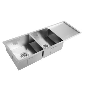 Cefito Stainless Steel Kitchen Sink 111X45CM Under/Topmount Laundry Double Bowl Silver