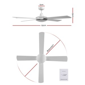 """Fan Ceiling 52"""" Without Light / Wall Control / 4 Blades - White"""