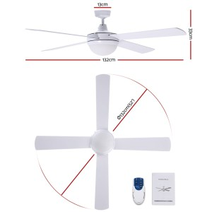 """Fan Ceiling 52"""" With Light / Remote Control / 4 Blades - White"""