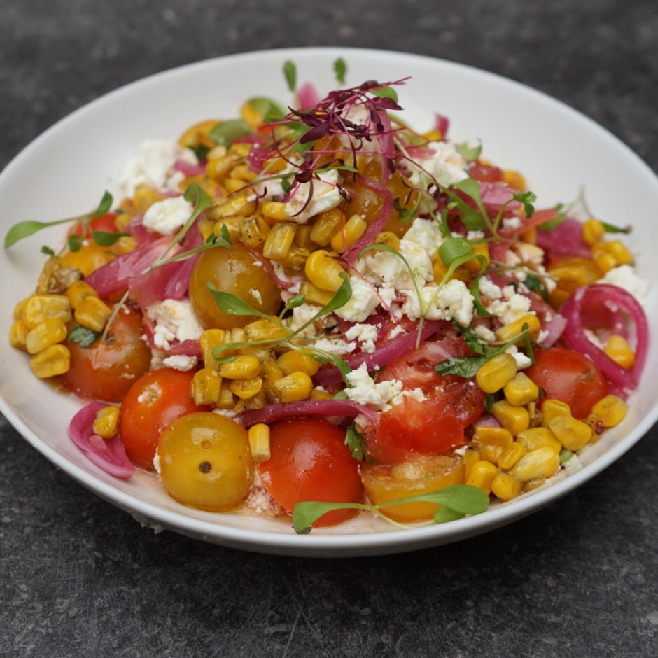 Salad of the Day : Mexican Tomato Salad with Chipotle, Coriander, Lime, Sweet Pickled Onion, Charred Sweet Corn and Feta