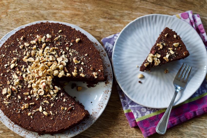 Chocolate Hazelnut Cake Ready to Serve on a Plate