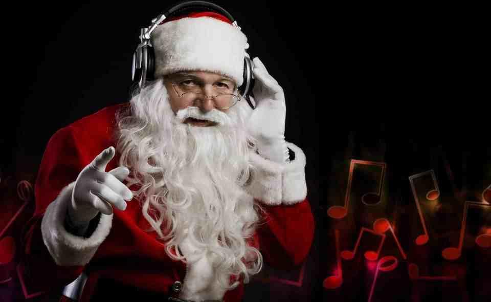 Santa Claus Christmas Headphones Music Hand